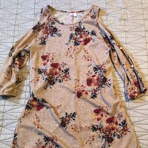 Open Shoulder Floral Sweater Dress NWOT